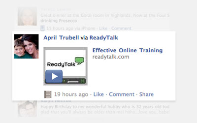 Screen shot of webinar recording embedded in a Facebook page