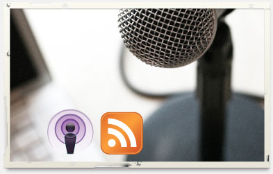 Microphone and logos for syndicated webinar content