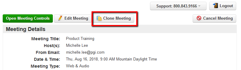 Cloning a Scheduled Meeting | ReadyTalk