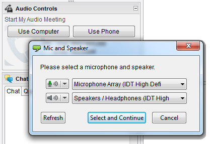 Screenshot of ReadyTalk VoIP Controls